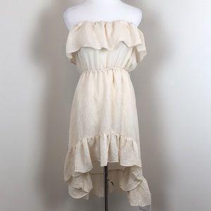 Poetry Medium Beige Ruffled Asymmetrical Dress